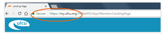 Screen grab of Online Banking with the secure URL - https://my.ufcu.org - circled.